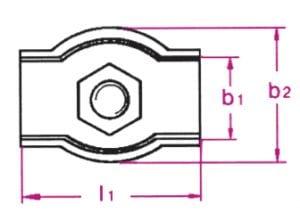 RVS simplex kabelklem met enkele bout afmetingen