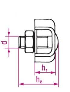 RVS simplex:duplex kabelklem afmetingen