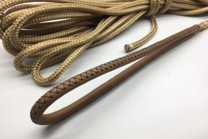 Custom made mooring line with eye splice, finished with brown leather