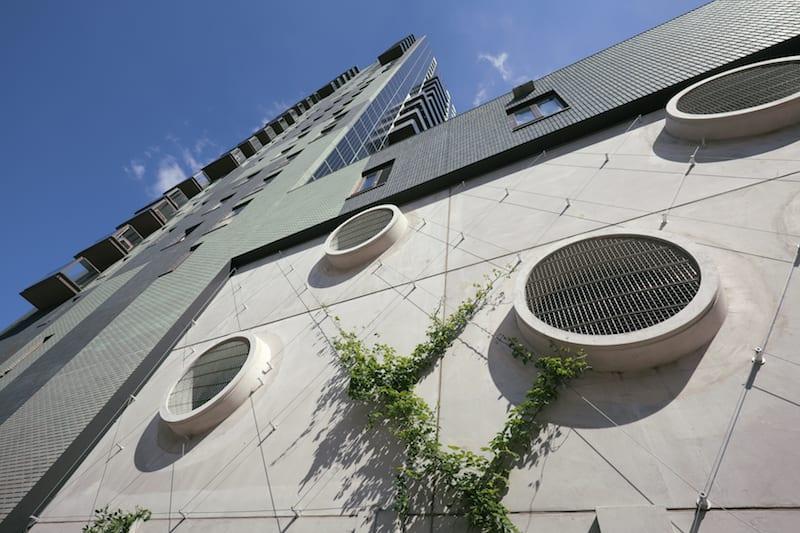 Amstelpark groene gevel diagonale spankabels Carl Stahl
