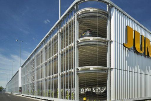 Jumbo Distributiecentrum Nieuwegein, Parkeergarage met RVS kabelnetten, veiligheidsnetten - Carl Stahl
