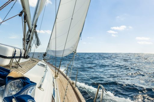 Yacht sail in the Atlantic ocean at sunny day cruise CS.RIGGING